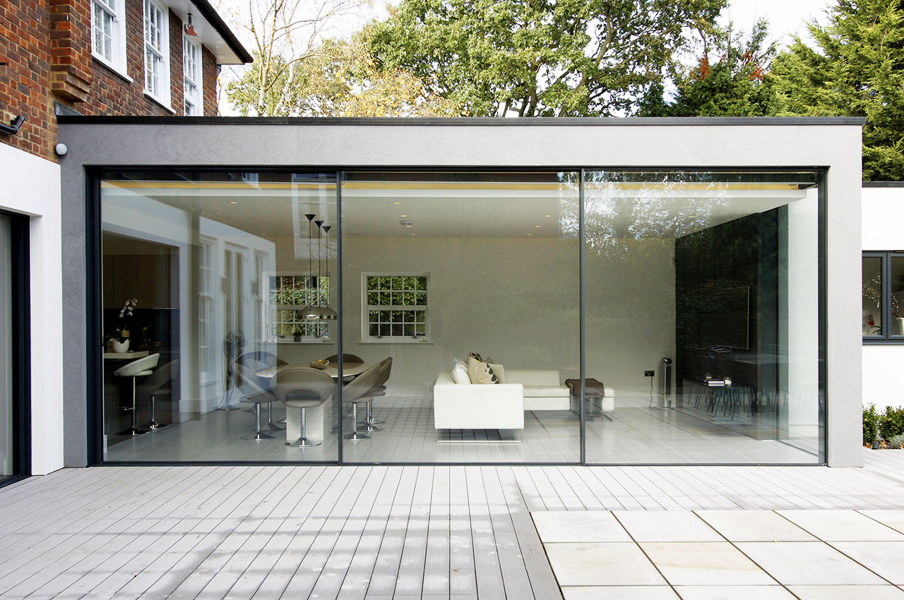 850 #6D4935 Contemporary Extension In London Using Minimal Windows Sliding  Doors Pic How Big Are