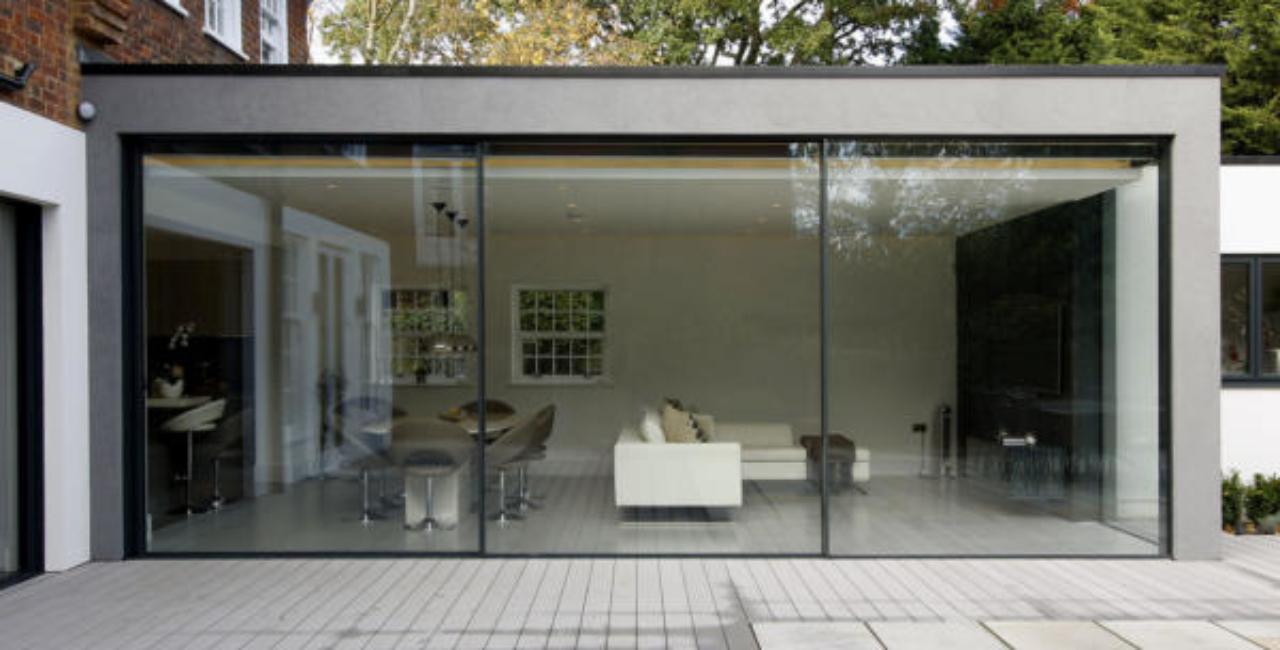 large extension using sliding glass doors