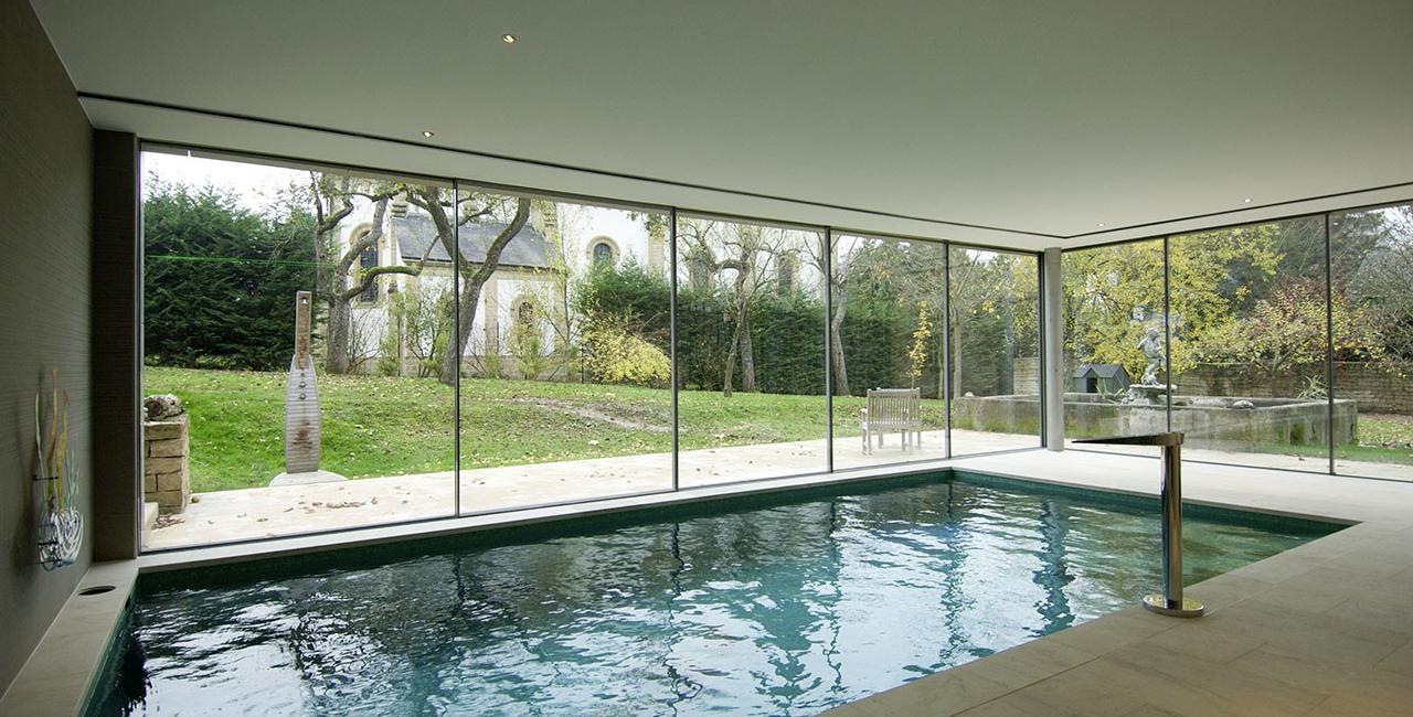 sliding glass doors used in pool room
