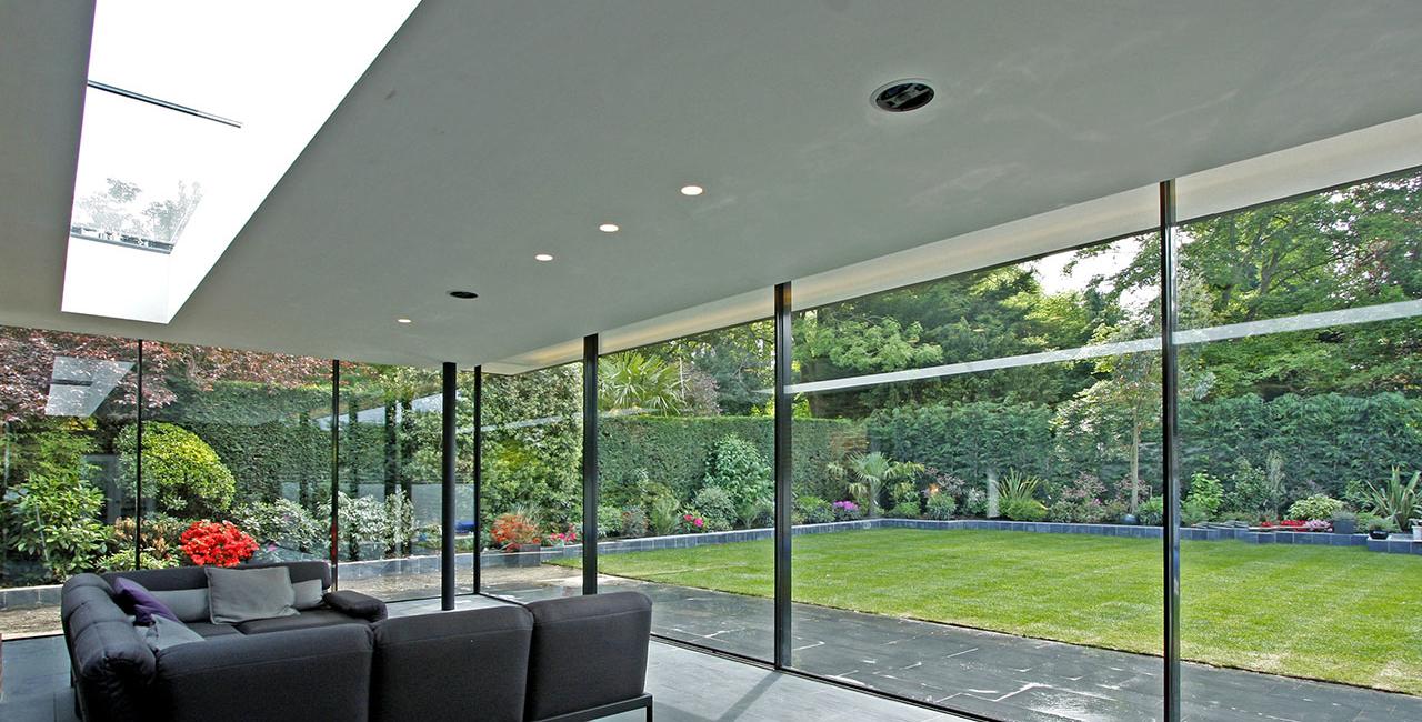 minimal framed sliding glass doors