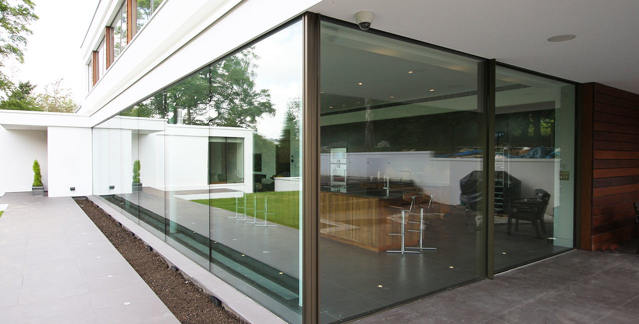 White Lodge Contemporary New Build Oxted Rear Patio Doors