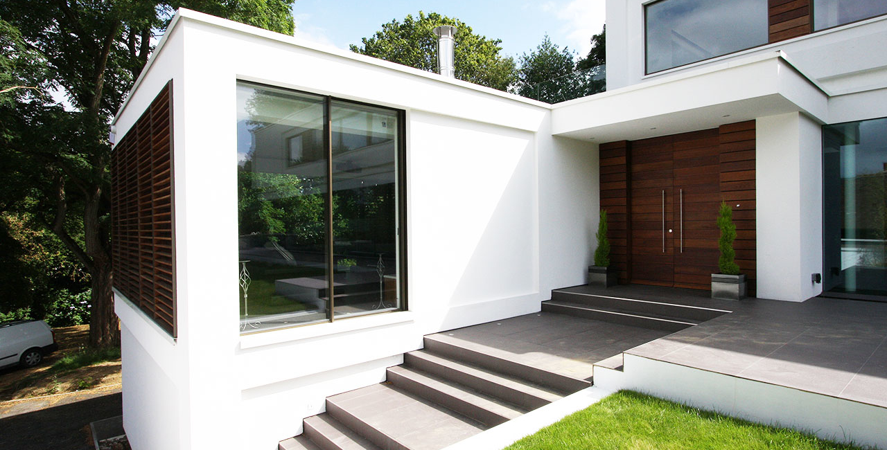 White Lodge Contemporary New Build Oxted Front Entrance and Living Room