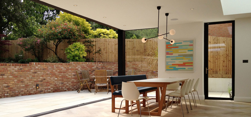 Open plan rear extension project with oversized sliding glass