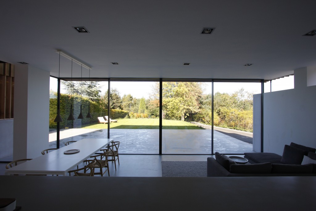 Internal view of floor-to-ceiling sliding glass doors