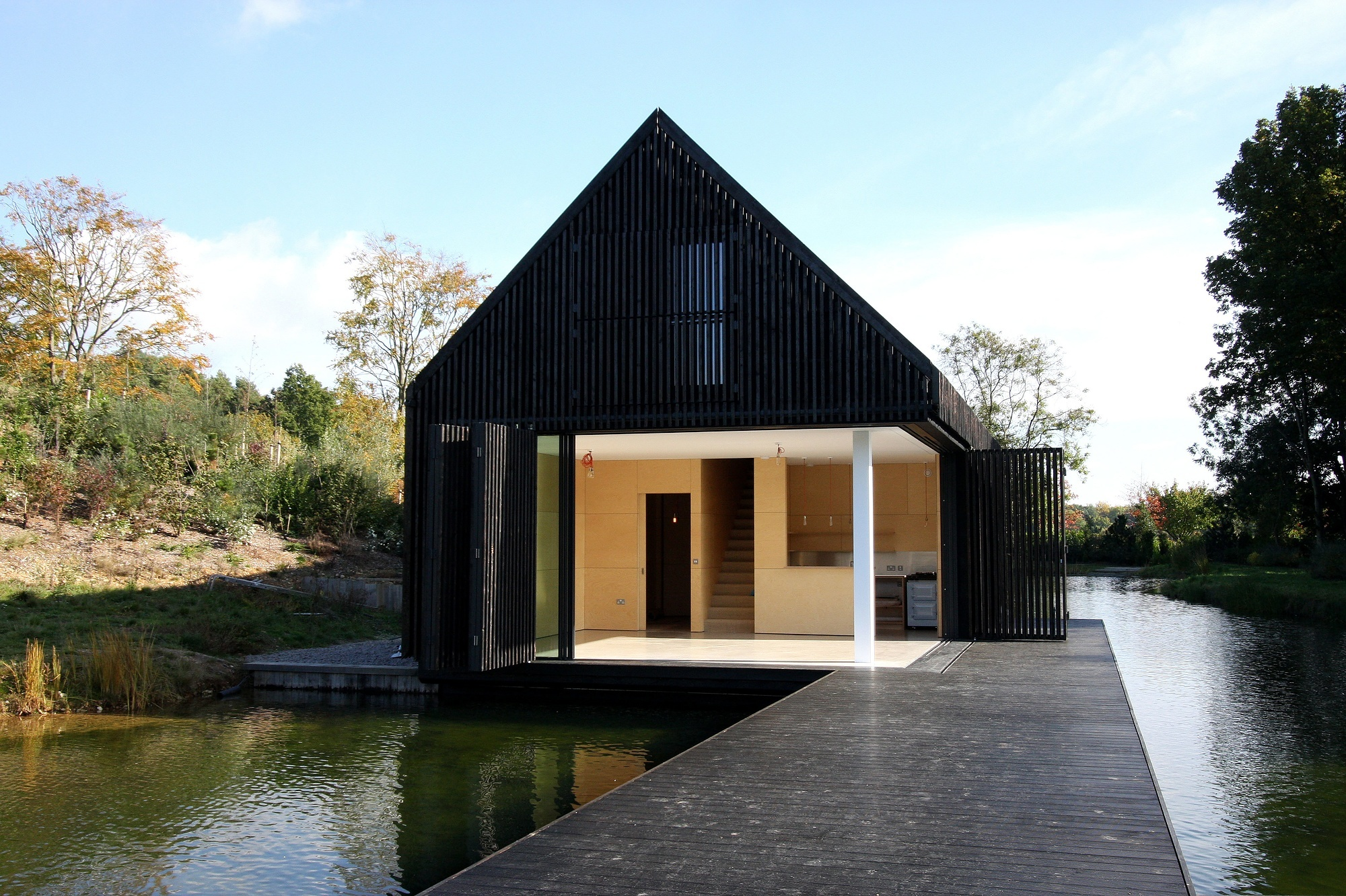 Boat House minimal frame sliding glass doors