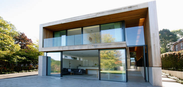minimal pivot windows on luxury home