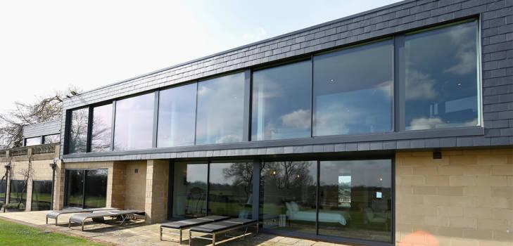 dunloran house thin framed sliding glass doors
