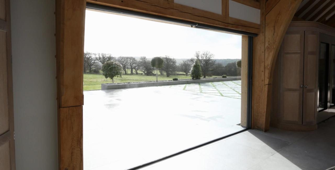 open aperture sliding glass doors