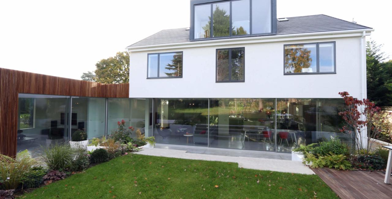minimally thin framed sliding glass doors