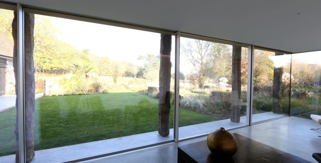 sliding glass doors on a barn conversion