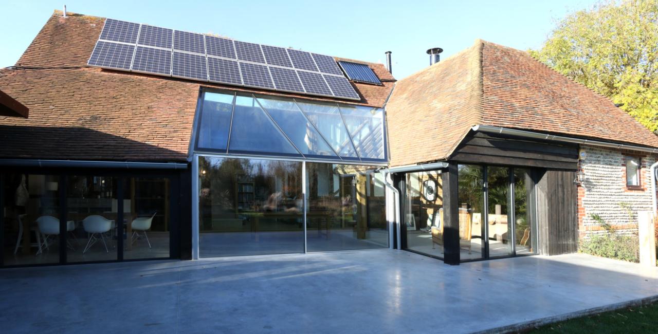 sliding glass doors to barn conversion