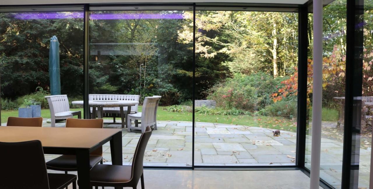 thinly framed sliding glass doors