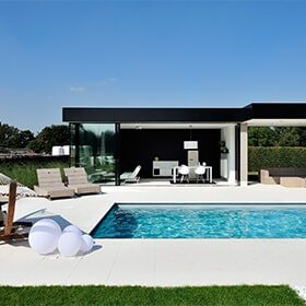 Black and White Pool House Glass sliding doors