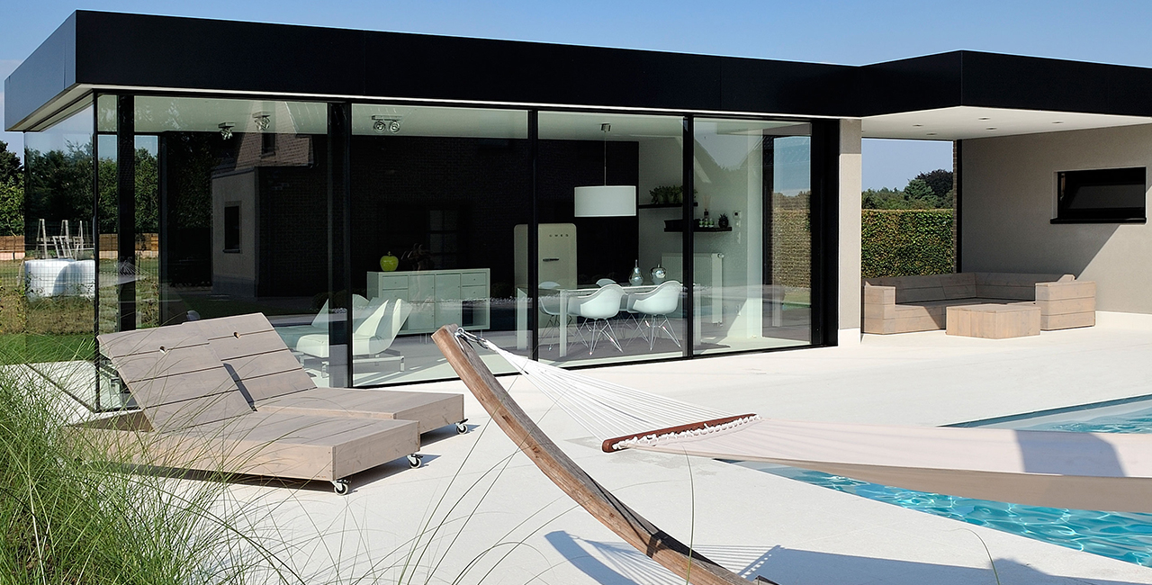 sliding glass door pool house