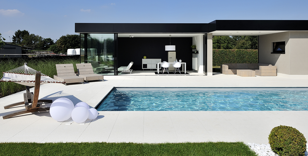 Black and White Pool House Oversize Glazing