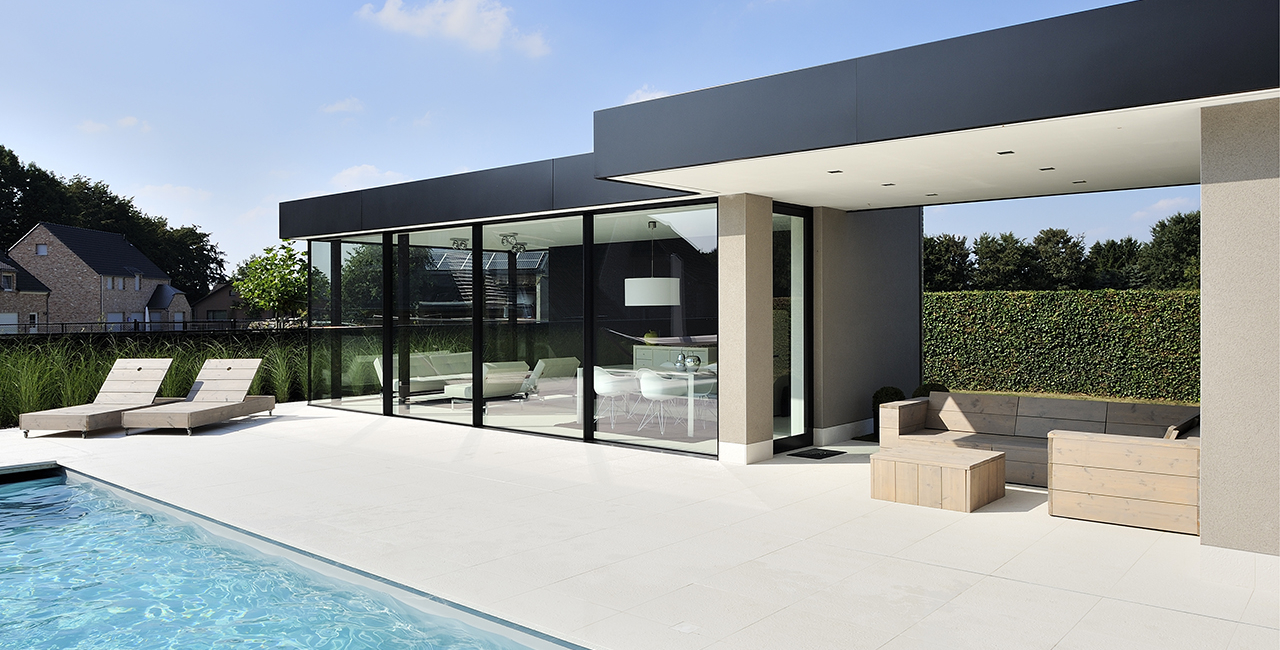 minimal windows sliding glass door pool house