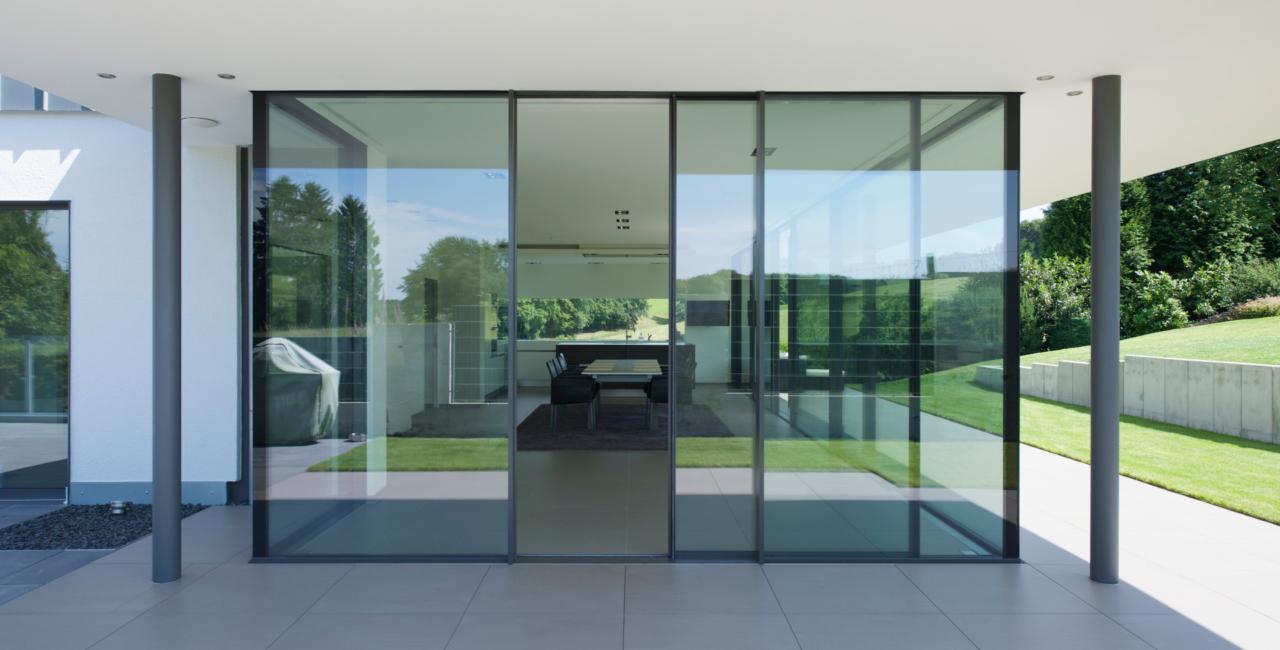 slim framed sliding glass doors