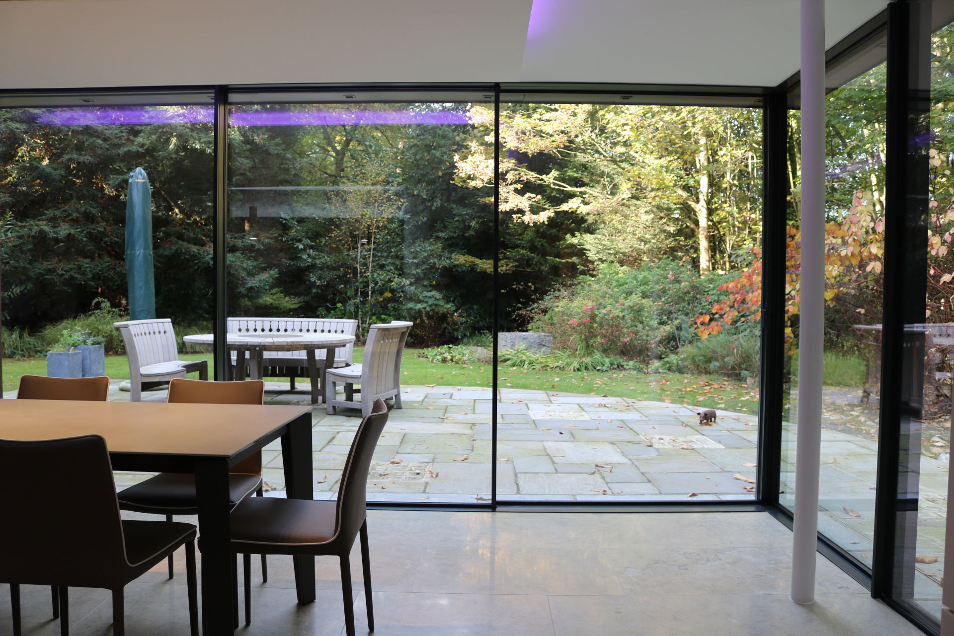 open corner slim framed sliding glass doors