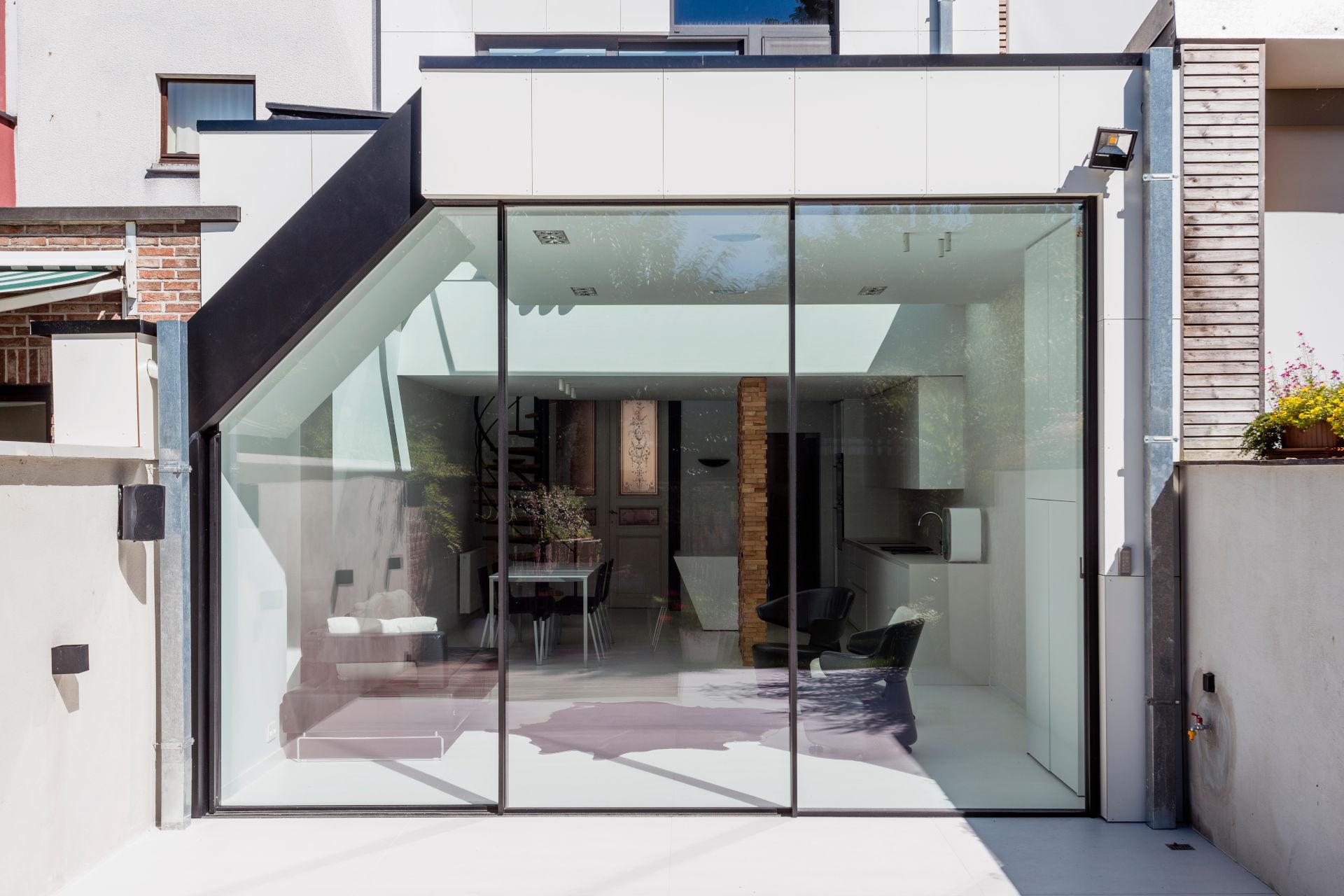 angled minimal windows sliding glass doors