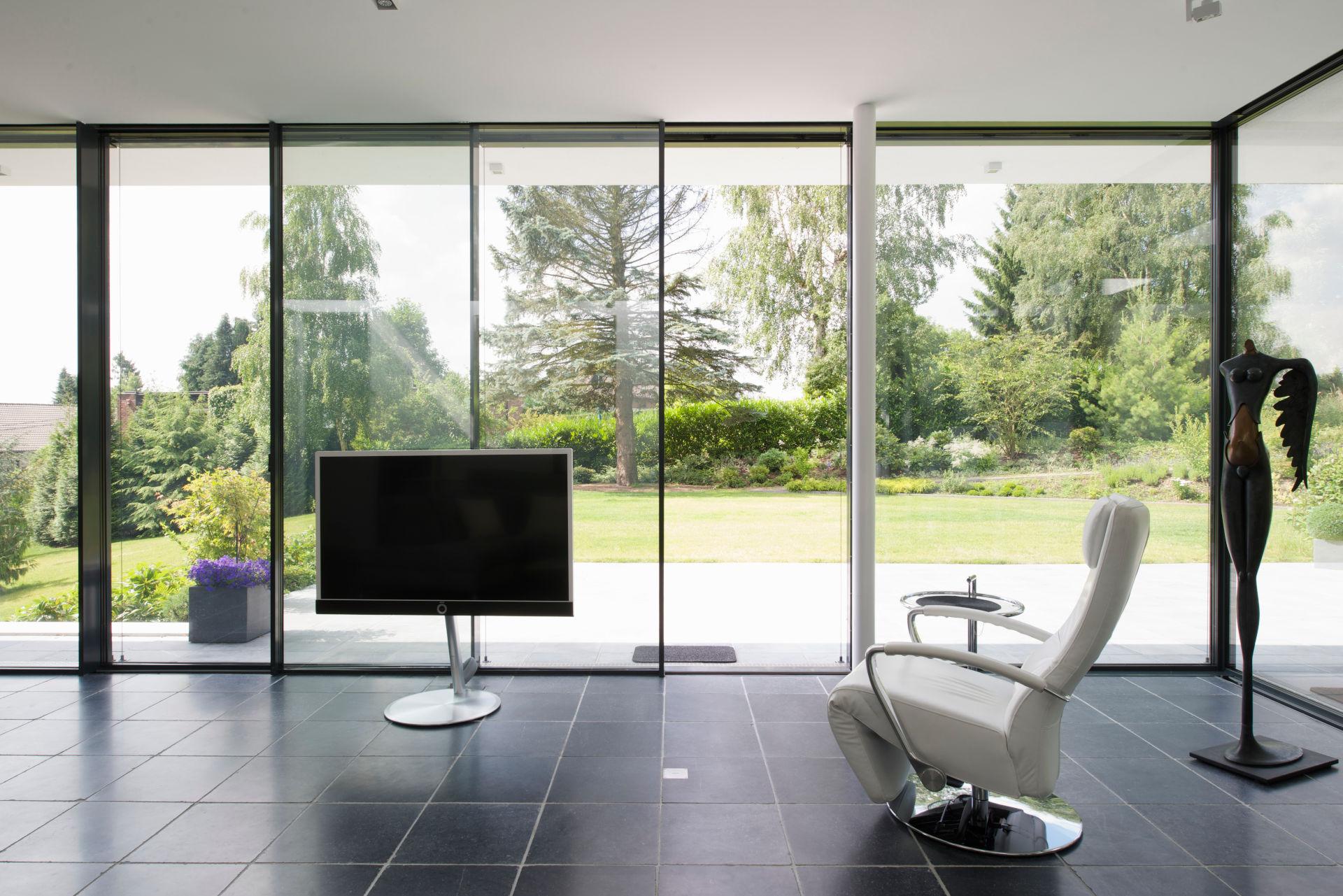 view through ultra slim sliding glass doors