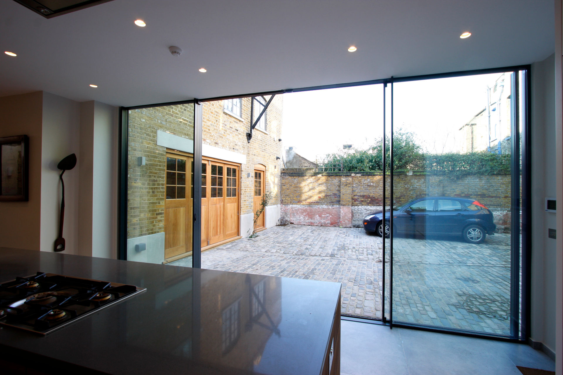 listed building renovation using sliding glass doors
