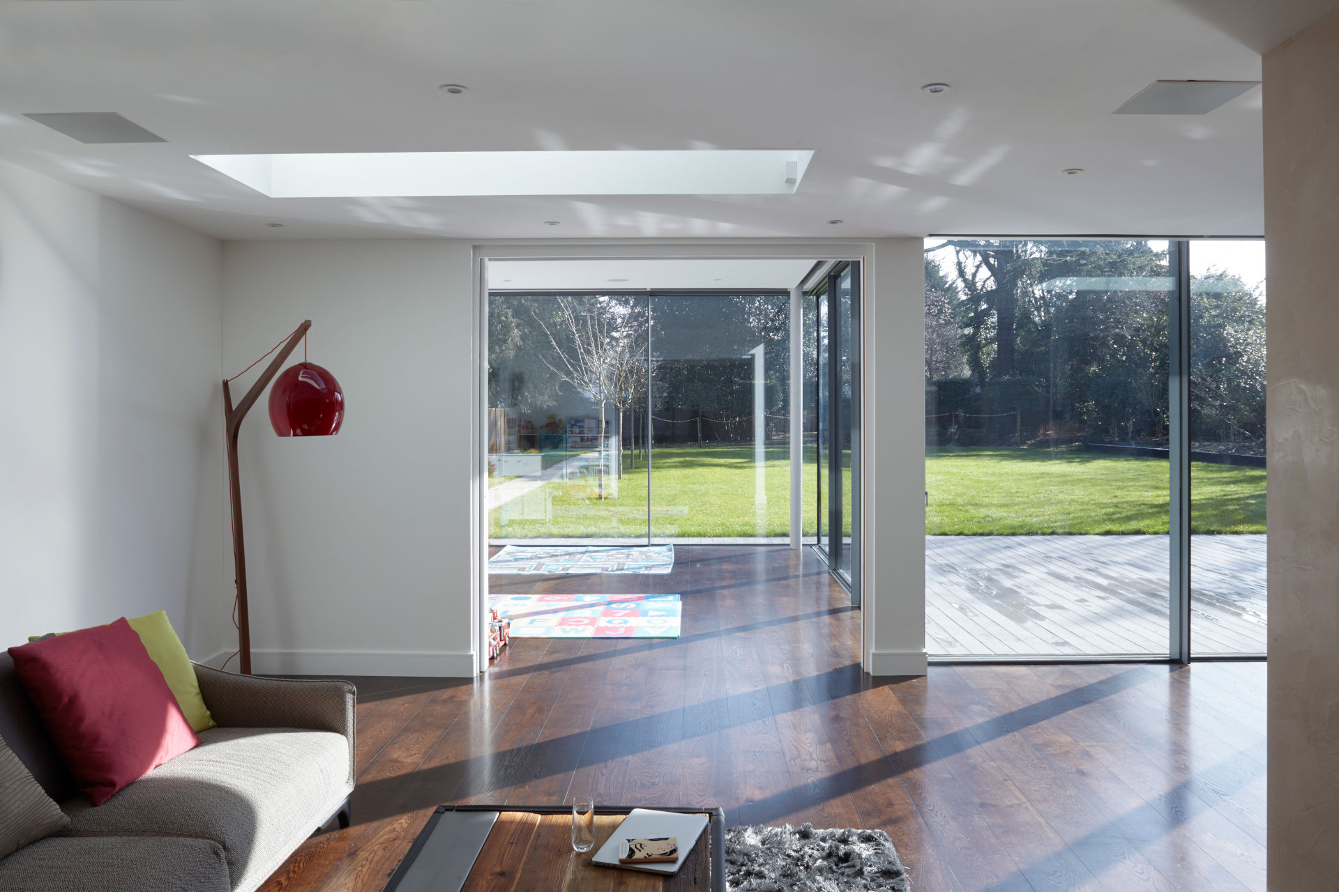 minimally framed sliding glass doors