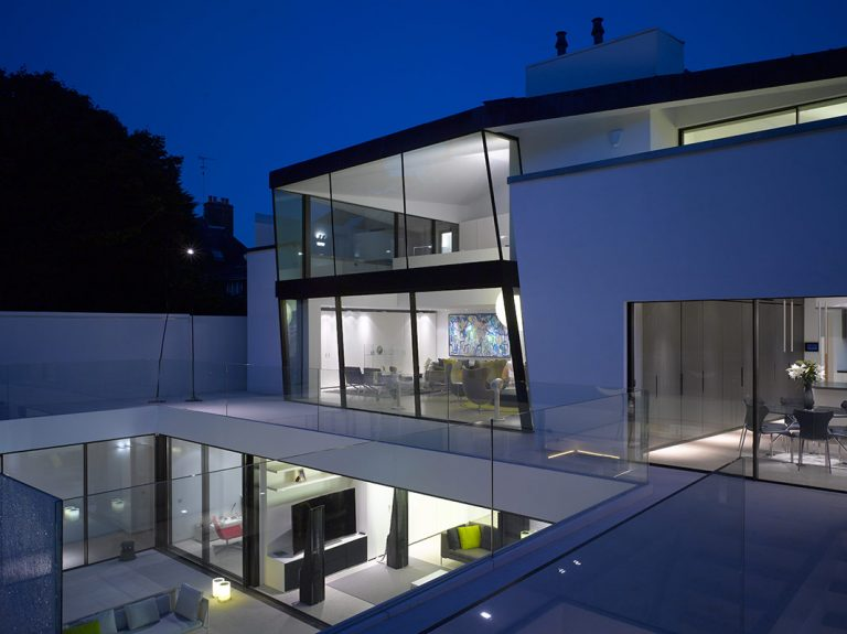 Contemporary new build with double height glass box