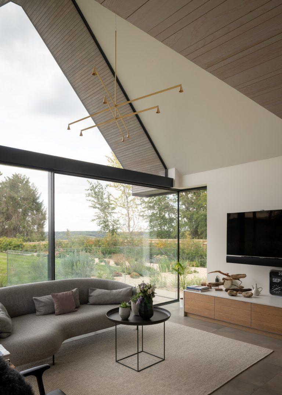 Modern living room with minimal windows sliding doors