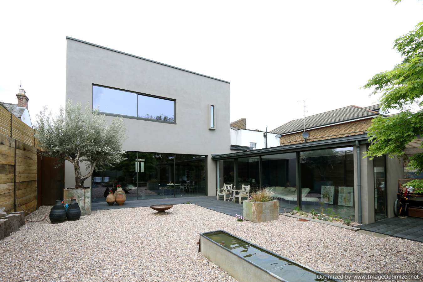 Modern extension with minimal sliding glass doors
