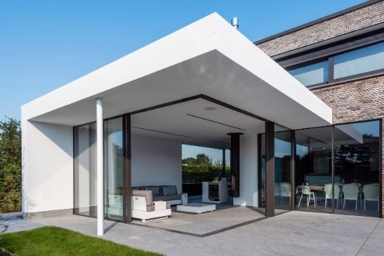 minimal windows ultra minimal large glass sliding doors on a luxury new build home