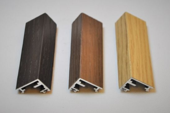 three different shades of timber effect finishes for aluminium framing