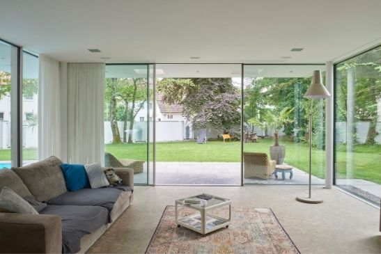 floor to ceiling large hurricane resistant sliding glass doors with triple glazing