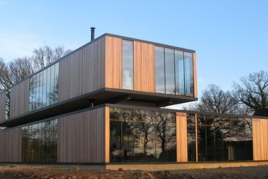 heated sliding glass doors used on a contemporary sustainable new build home