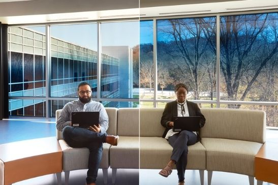 electrochromic glass faded two ways to provide solar shading all day