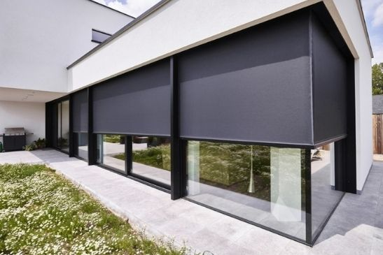 external automated corner blinds from grants blinds to go over minimal windows sliding glass doors