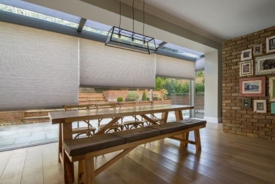 internal blinds from grants blinds in front of minimal windows aluminium sliding glass doors
