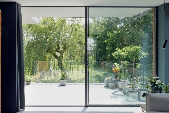 large two pane slim sliding glass door from minimal windows