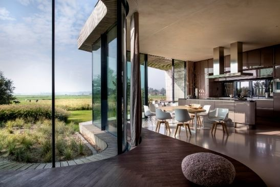 luxury interior design with warm brown tones and a biophilic design