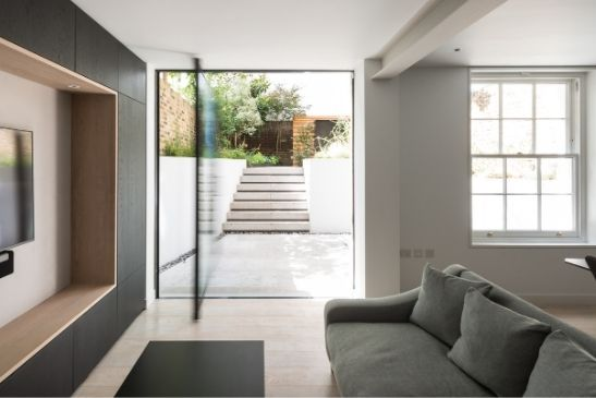 minimal windows high security pivot door with unique magnetic sealing strip