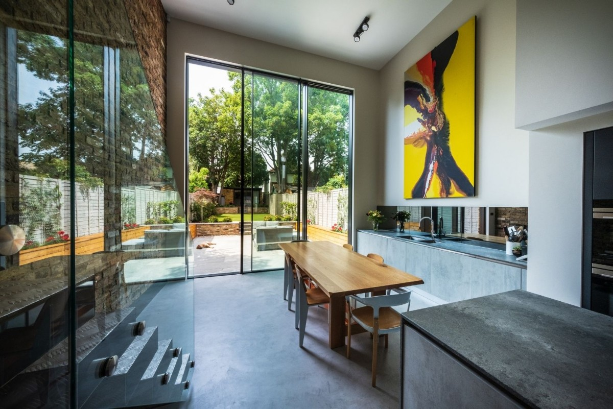 double height sliding glass door in a London home renovation