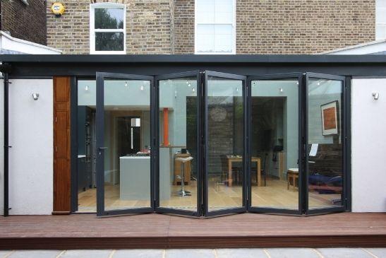 bifold door with five panes and bold dark frames