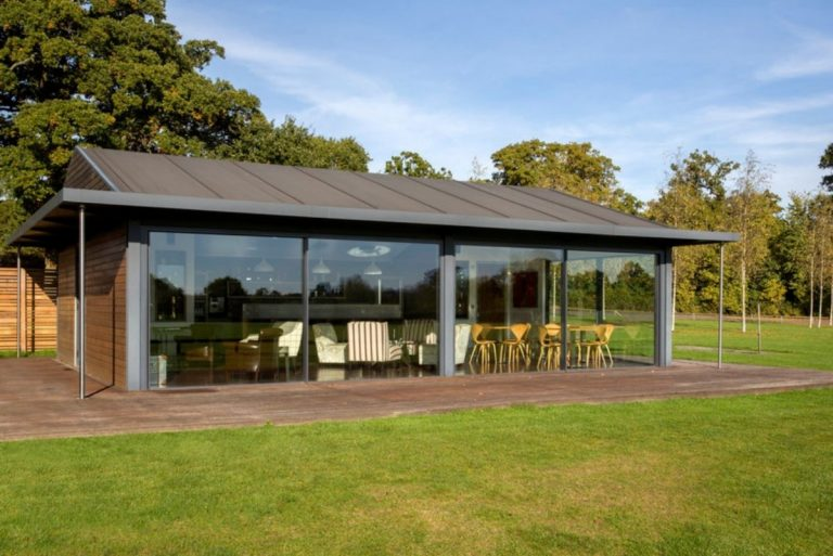 a polo club in Emsworth with large slim sliding aluminium doors
