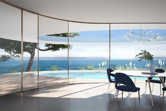 minimal windows luxury curved sliding glass door